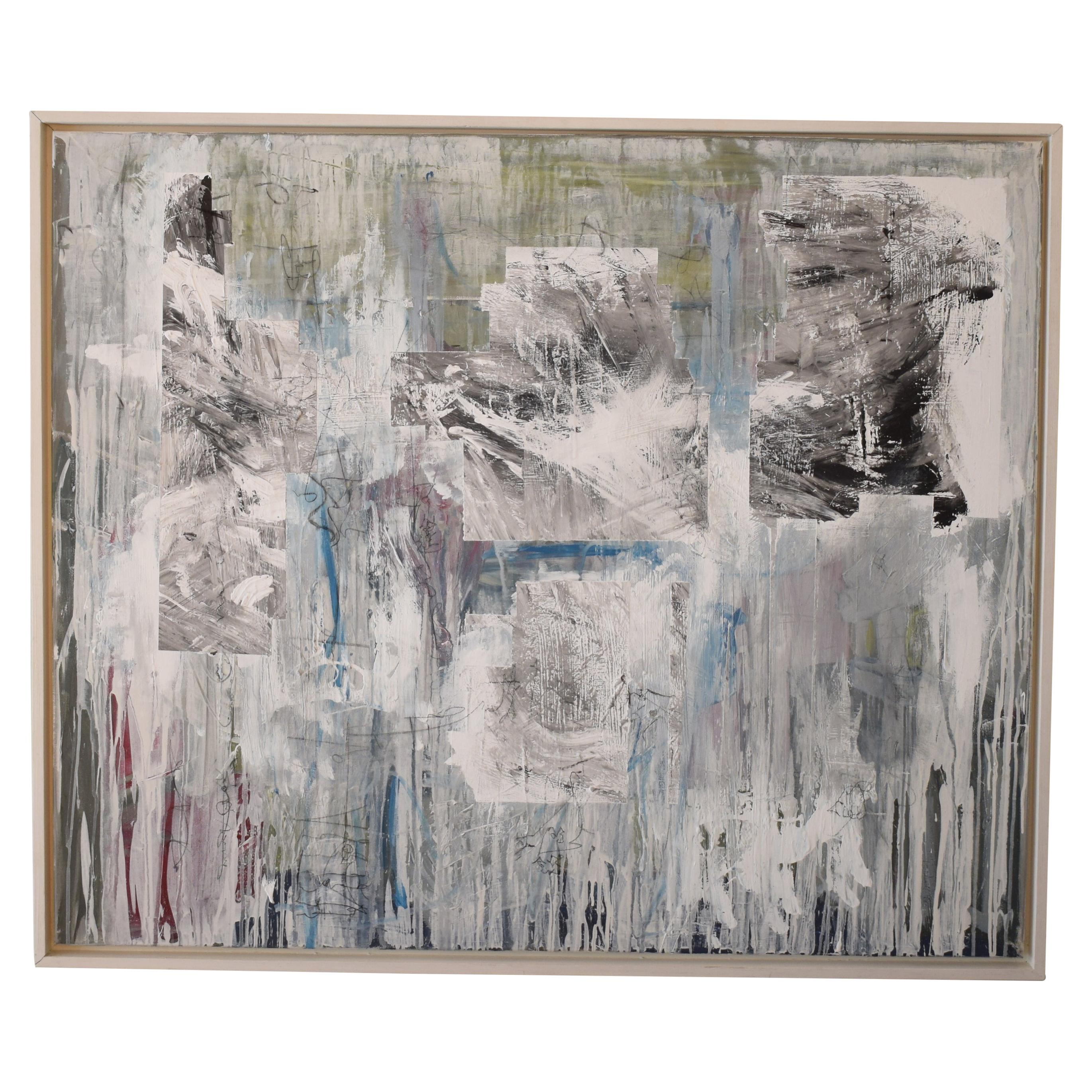 Contemporary German Modern Abstract Grey White Black Acrylic Painting on Canvas