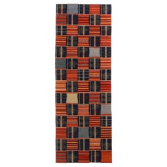 Contemporary Ghana Geometric Red and Blue Wool Runner