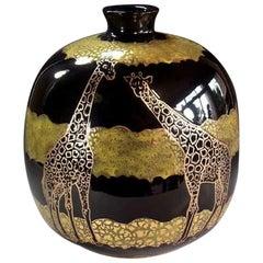 Contemporary Gilded Black Decorative Imari Ceramic Vase by Master Artist