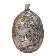 Contemporary Gilded Blue Imari Porcelain Vase by Japanese Master Artist