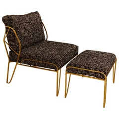 Contemporary Gilded Bronze Lounge Chair and Ottoman, Italy, 2020