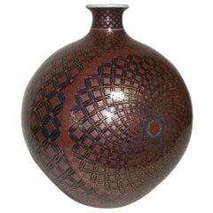 Japanese Gilded Hand-Painted Porcelain Vase by Master Artist