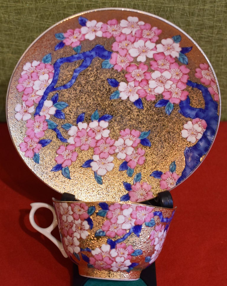 Gilded Japanese Blue Pink Porcelain Cup and Saucer by Master Artist For Sale 1