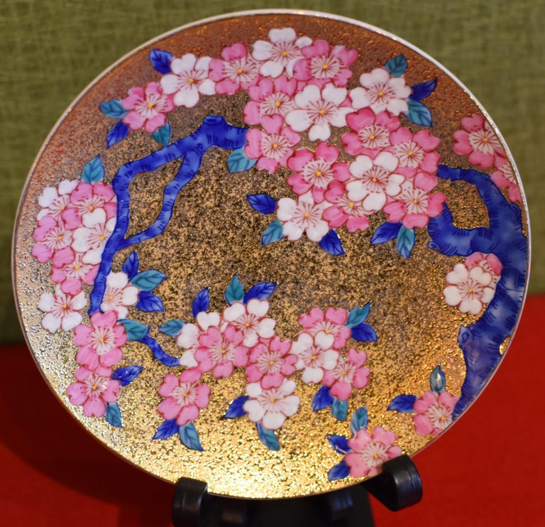 Gilded Japanese Blue Pink Porcelain Cup and Saucer by Master Artist In New Condition For Sale In Vancouver, CA