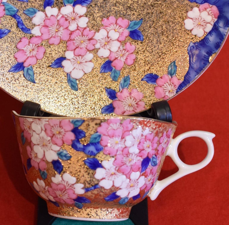 Gilt Gilded Japanese Blue Pink Porcelain Cup and Saucer by Master Artist For Sale