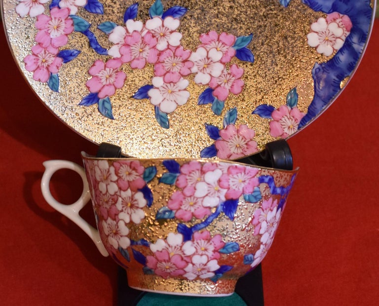 Gilded Japanese Blue Pink Porcelain Cup and Saucer by Master Artist For Sale 3