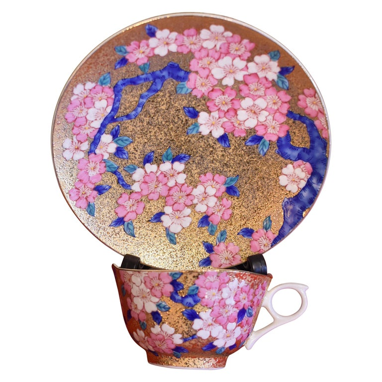 Gilded Japanese Blue Pink Porcelain Cup and Saucer by Master Artist For Sale