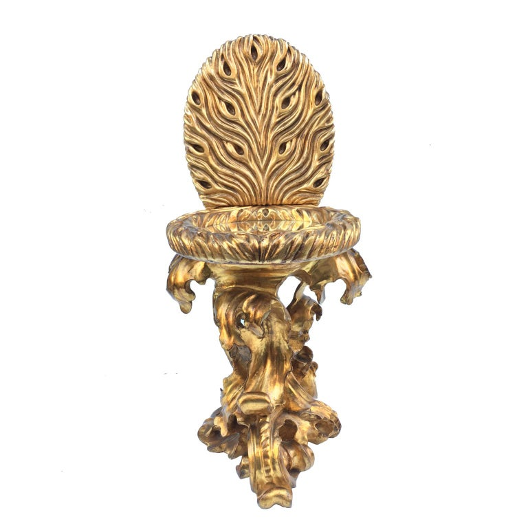 Italian Contemporary Giltwood Toilet Shaped Sculptural Side Table With Mirror Top For Sale