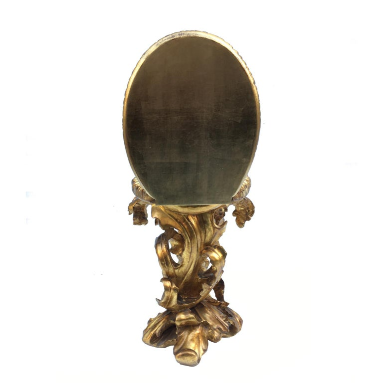 Contemporary Giltwood Toilet Shaped Sculptural Side Table With Mirror Top For Sale 2