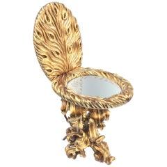 Contemporary Giltwood Toilet Shaped Sculptural Side Table With Mirror Top
