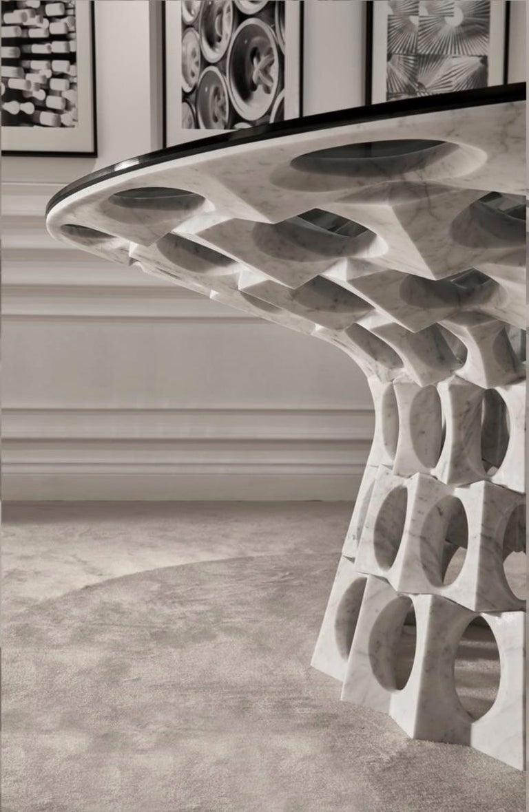 Italian Contemporary Ginerva Dining Table in Statuariatto White Marble For Sale