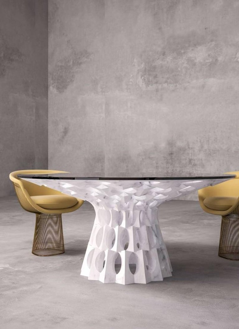 Contemporary Ginerva Dining Table in Statuariatto White Marble In New Condition For Sale In Essex, CT