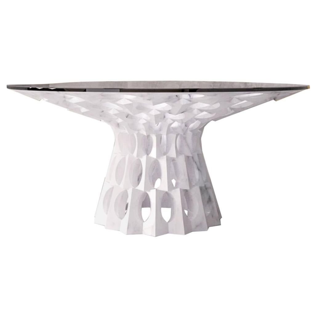 Italian Marble Dining Table in Statuariatto White Marble