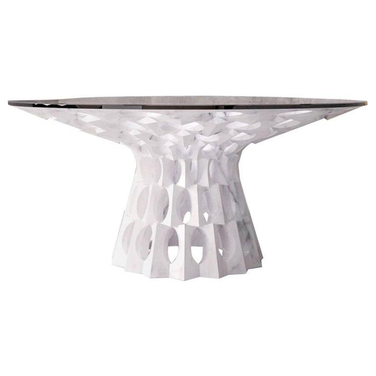 Contemporary Ginerva Dining Table in Statuariatto White Marble For Sale