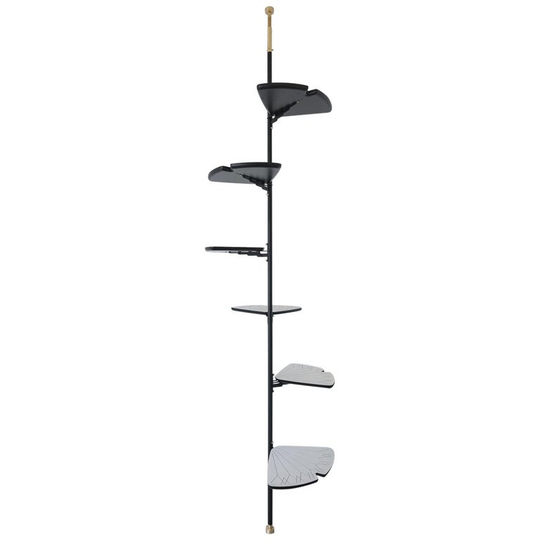 Contemporary Gingko Bookshelf System in Metal and Hardwood For Sale