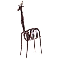 Contemporary Giraffe Iron Sculpture, with Use of Tools and Other Objects C20