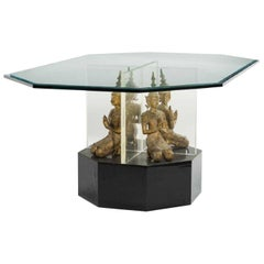 Contemporary Glass Center Table with Thai Buddas