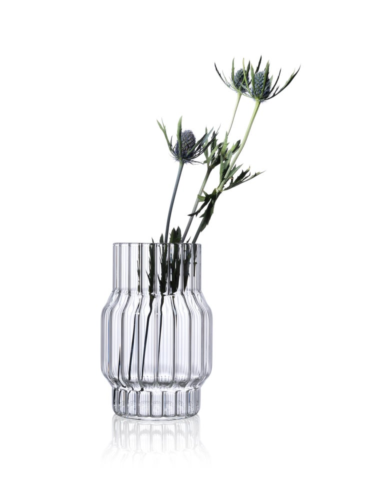 Modern Contemporary Glass Fluted Albany Vase Set, 3 Vases, in Stock in EU For Sale