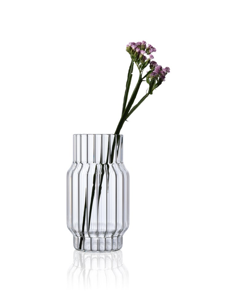Czech Contemporary Glass Fluted Albany Vase Set, 3 Vases, in Stock in EU For Sale