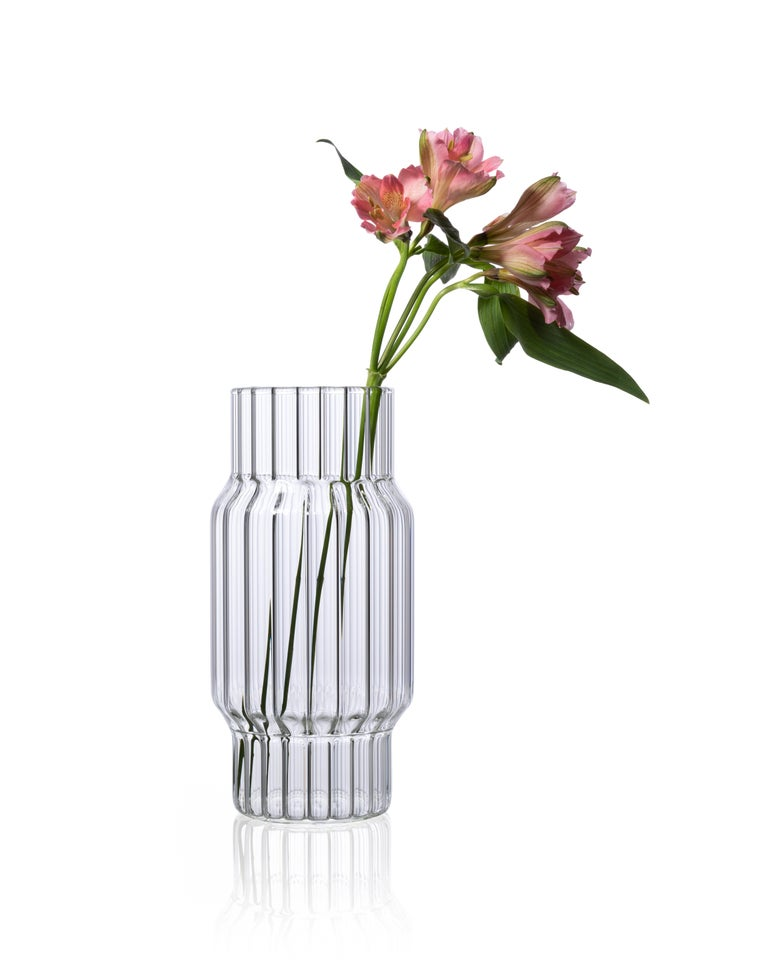 Hand-Crafted Contemporary Glass Fluted Albany Vase Set, 3 Vases, in Stock in EU For Sale