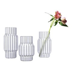 Contemporary Glass Fluted Albany Vase Set, 3 Vases, in Stock in EU