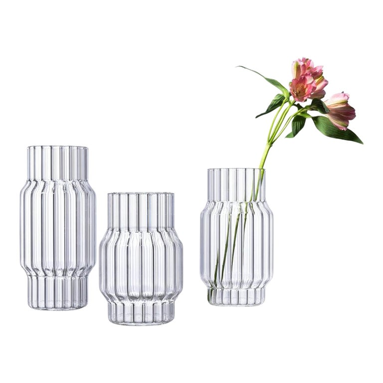 Contemporary Glass Fluted Albany Vase Set, 3 Vases, in Stock in EU For Sale