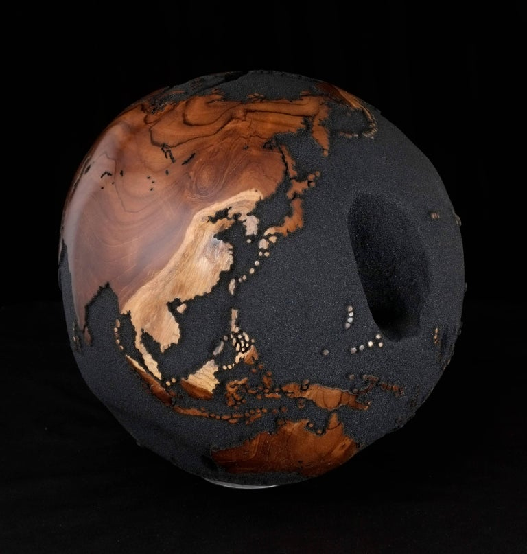 Organic Modern Contemporary Globe in Teak Root with Volcanic Sand and Natural Holes, 30cm For Sale