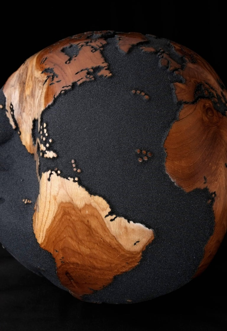 Balinese Contemporary Globe in Teak Root with Volcanic Sand and Natural Holes, 30cm For Sale