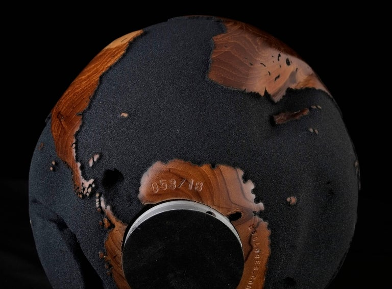 Contemporary Globe in Teak Root with Volcanic Sand and Natural Holes, 30cm For Sale 2