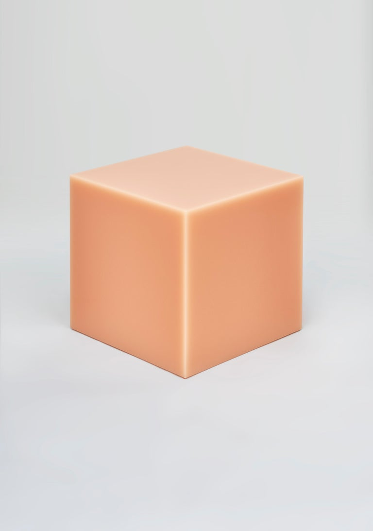 Modern Contemporary Glossy Resin Side Table, Candy Cube by Sabine Marcelis, Peach For Sale