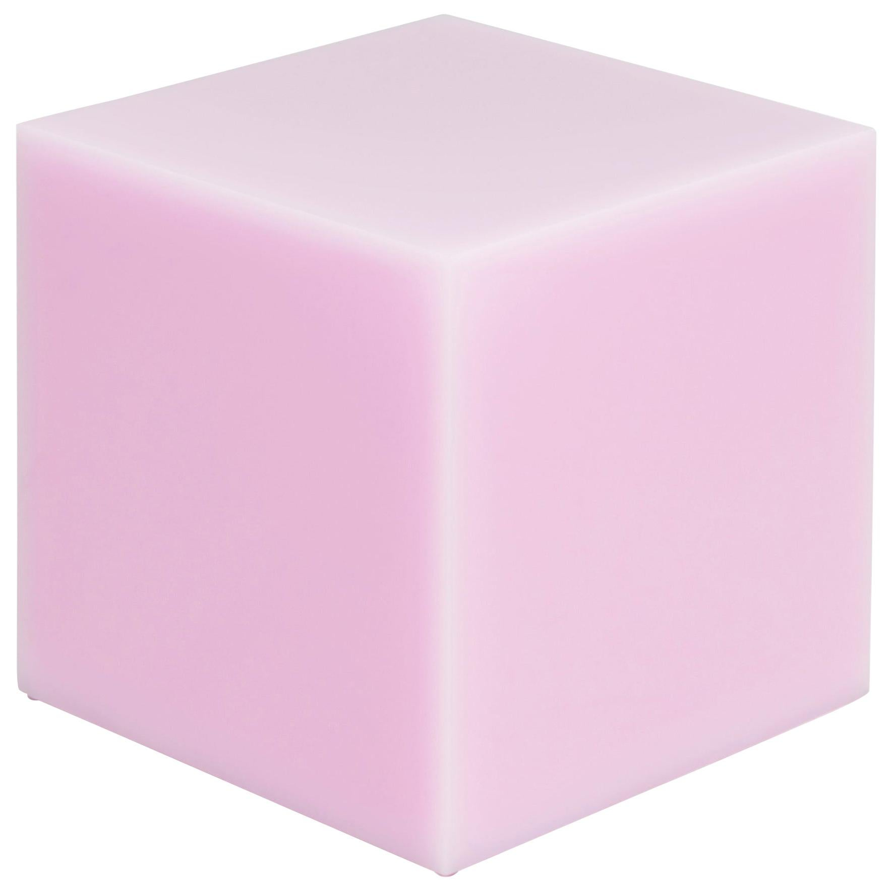 Contemporary Glossy Resin Side Table, Candy Cube in Bubble Gum Pink