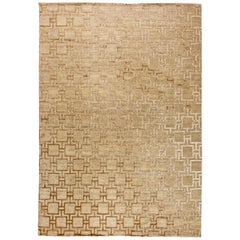 Contemporary Gold Geo Henley Hand Knotted Hemp Rug