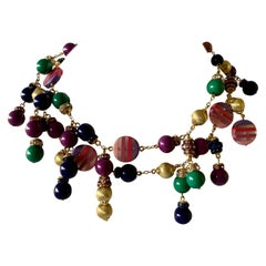 Contemporary Gold, Green, Pink and Purple Fringe Necklace
