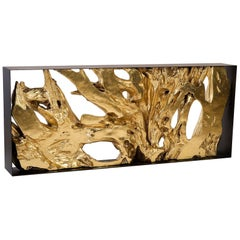 Contemporary Gold Leaf Root Console Table