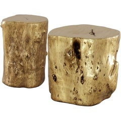 Contemporary Gold Leaf Side Table Set