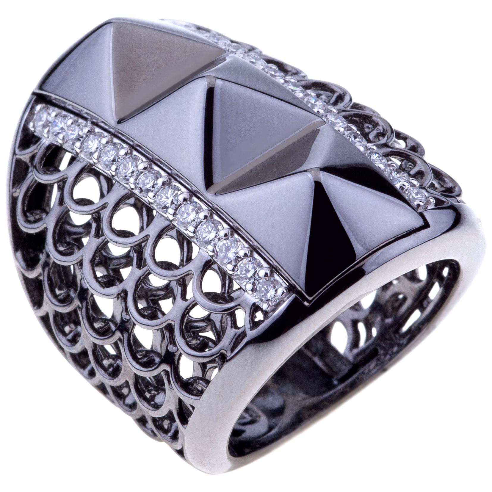 Contemporary Gold Mesh Ring Black with Ruthenium and Diamonds