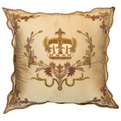 Contemporary Gold Silk Pillow with Beaded and Embroidered Crown