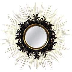 Contemporary Gold Sunburst Mirror with Brass and Lacquered Carved Wood