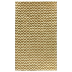 Contemporary Gold Waves Design Hand Knotted Wool Rug