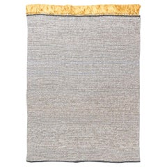 Contemporary Golden and Gray Hand Knotted Wool and Silk Rug