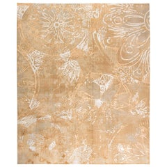 Contemporary Golden Beige and Gray Handwoven Wool and Silk Rug