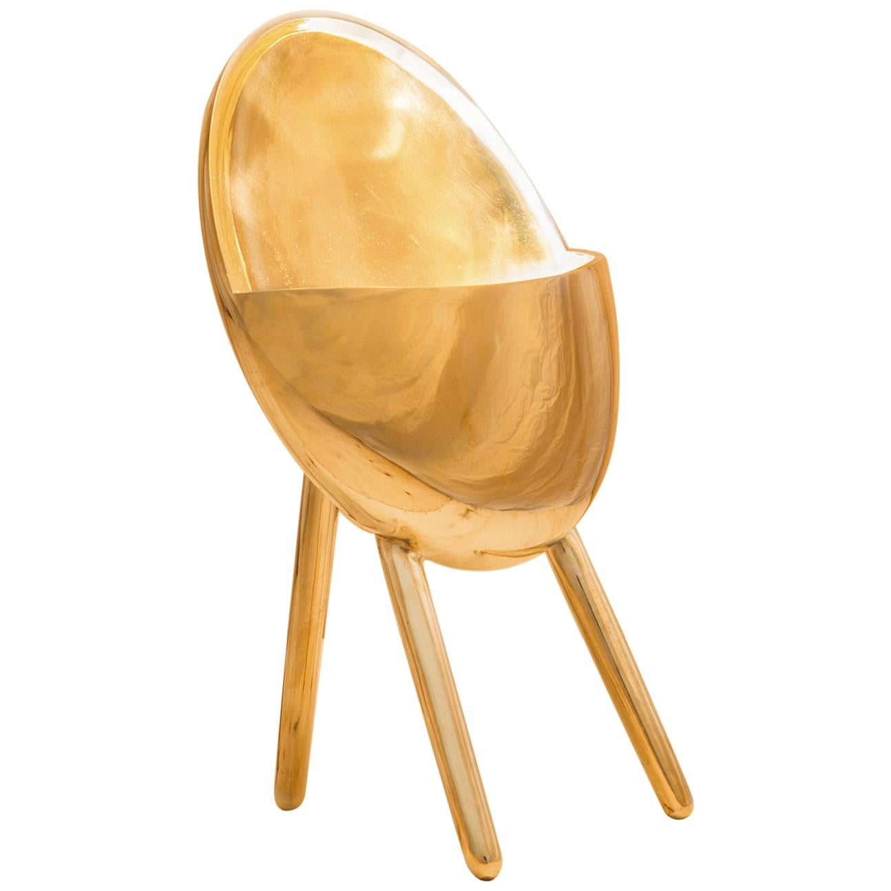 Contemporary Golden Table Lamp in Cast Brass