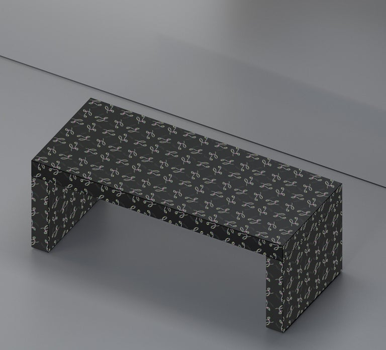 Laminated Contemporary Graphic Bench/Coffee Table Gaby California Black by Chapel Petrassi For Sale