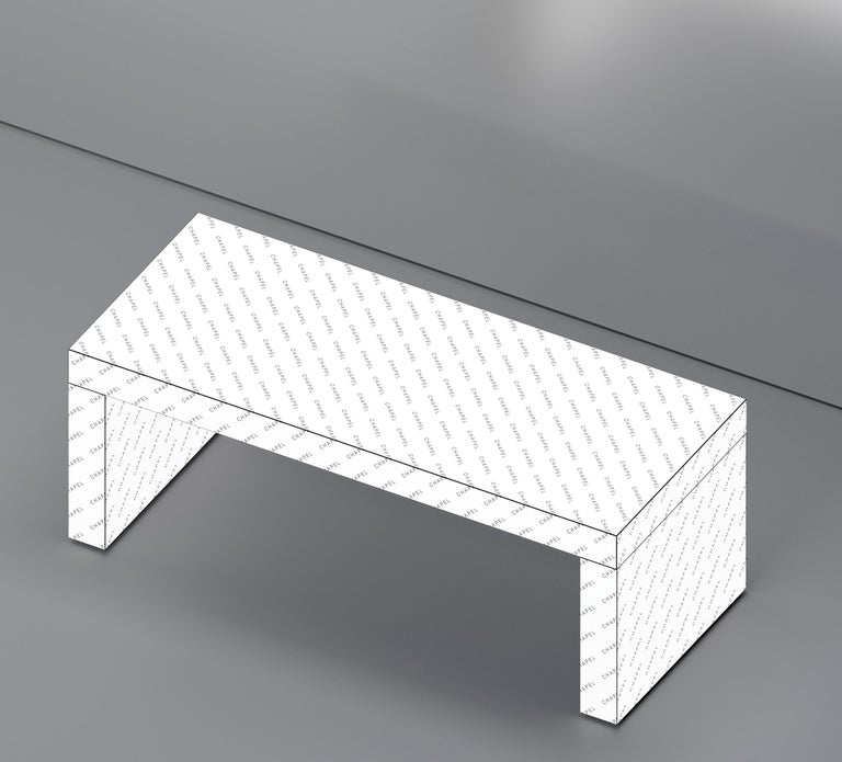 Wood Contemporary Graphic Bench/Coffee Table Gaby California Black by Chapel Petrassi For Sale