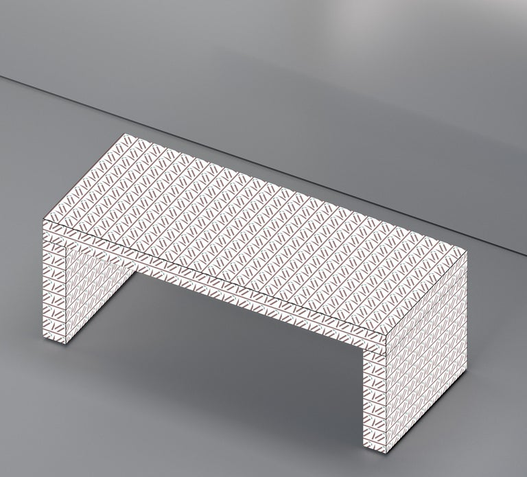 Other Contemporary Graphic Bench/Coffee Table Gaby California White by Chapel Petrassi For Sale