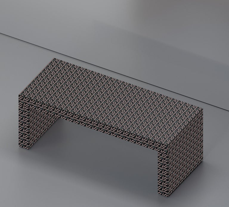 Laminated Contemporary Graphic Bench/Coffee Table Gaby California White by Chapel Petrassi For Sale