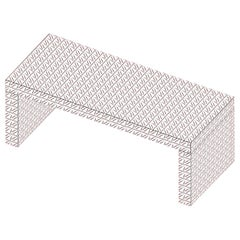 Contemporary Graphic Bench/Coffee Table Gaby California White by Chapel Petrassi