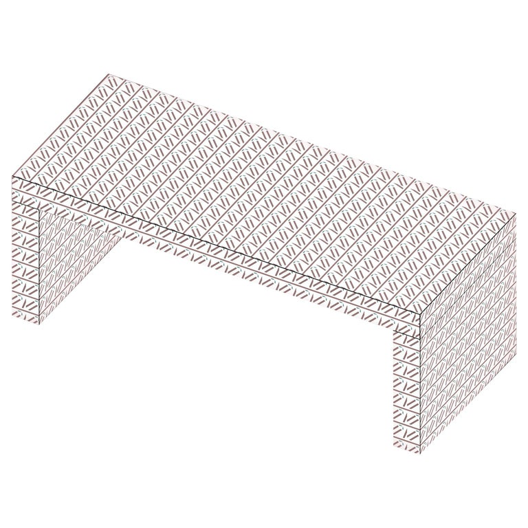 Contemporary Graphic Bench/Coffee Table Gaby California White by Chapel Petrassi For Sale