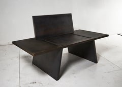 Contemporary Gravity Chair in Blackened and Waxed Steel Plate