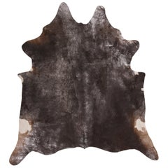 Contemporary Gray and Black Large Leather Cowhide Rug